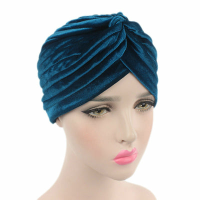 Peyton Soft Velvet Turban_Head covering_Head wrap_Basic_Chemo_Hat_Cancer_Headcovers_Teal