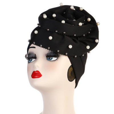 Rachel Pearls Luxury Hat Party Beaded Turban Cap with Big Glory Flower Ladies Hair Loss Headwraps Muslim Hijab Elegant Turbante Hair Accessories For Cancer Patients-Black