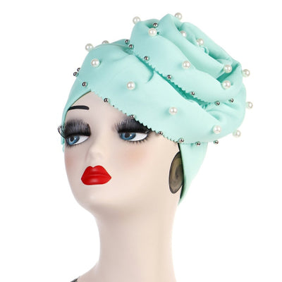 Rachel Pearls Luxury Hat Party Beaded Turban Cap with Big Glory Flower Ladies Hair Loss Headwraps Muslim Hijab Elegant Turbante Hair Accessories For Cancer Patients-Mint