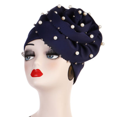 Rachel Pearls Luxury Hat Party Beaded Turban Cap with Big Glory Flower Ladies Hair Loss Headwraps Muslim Hijab Elegant Turbante Hair Accessories For Cancer Patients-Navy_Blue