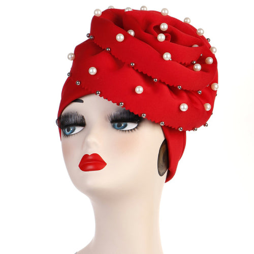 Rachel Pearls Luxury Hat Party Beaded Turban Cap with Big Glory Flower Ladies Hair Loss Headwraps Muslim Hijab Elegant Turbante Hair Accessories For Cancer Patients-Red