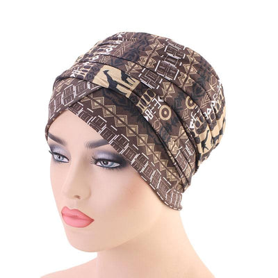 Riff Cotton Headwrap Buy Online African Headscarf Muslim Hijab Turban For Work Basic Hair Accessories Cancer Hat Cap For Sabbath Nigerian Style Headcovering-Brown