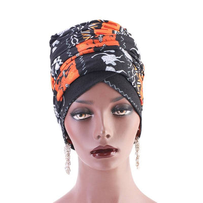 Riff Cotton Headwrap Buy Online African Headscarf Muslim Hijab Turban For Work Basic Hair Accessories Cancer Hat Cap For Sabbath Nigerian Style Headcovering-Orange-2