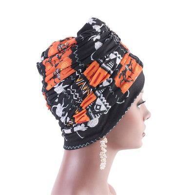 Riff Cotton Headwrap Buy Online African Headscarf Muslim Hijab Turban For Work Basic Hair Accessories Cancer Hat Cap For Sabbath Nigerian Style Headcovering-Orange-3