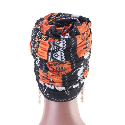 Riff Cotton Headwrap Buy Online African Headscarf Muslim Hijab Turban For Work Basic Hair Accessories Cancer Hat Cap For Sabbath Nigerian Style Headcovering-Orange-4