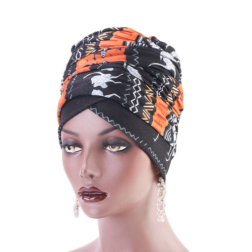 Riff Cotton Headwrap Buy Online African Headscarf Muslim Hijab Turban For Work Basic Hair Accessories Cancer Hat Cap For Sabbath Nigerian Style Headcovering-Orange