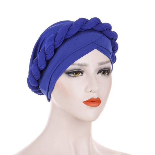 Rita Twist Braided Headwrap For Work Elastic Turban For Hair Loss Basic Muslim Hijab Hair Accessories For Chemo Sabbath Headcovering-Blue