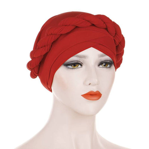 Rita Twist Braided Headwrap For Work Elastic Turban For Hair Loss Basic Muslim Hijab Hair Accessories For Chemo Sabbath Headcovering-Red
