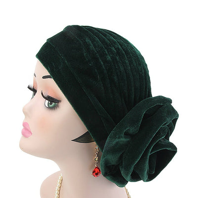 Rona  Big Flower Turban Women Headband Islamic Turban Hair Loss Cap Fancy Velvet Turbante Elegant Hair accessories Winter Green
