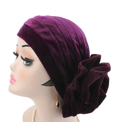Rona  Big Flower Turban Women Headband Islamic Turban Hair Loss Cap Fancy Velvet Turbante Elegant Hair accessories Winter Purple
