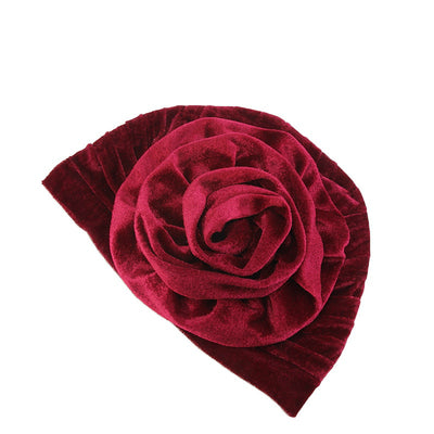 Rona  Big Flower Turban Women Headband Islamic Turban Hair Loss Cap Fancy Velvet Turbante Elegant Hair accessories Winter Red-6