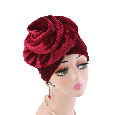 Rona  Big Flower Turban Women Headband Islamic Turban Hair Loss Cap Fancy Velvet Turbante Elegant Hair accessories Winter Red-5