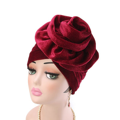 Rona  Big Flower Turban Women Headband Islamic Turban Hair Loss Cap Fancy Velvet Turbante Elegant Hair accessories Winter Red