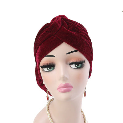 Rona  Big Flower Turban Women Headband Islamic Turban Hair Loss Cap Fancy Velvet Turbante Elegant Hair accessories Winter Red-3