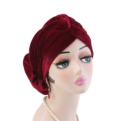 Rona  Big Flower Turban Women Headband Islamic Turban Hair Loss Cap Fancy Velvet Turbante Elegant Hair accessories Winter Red-2