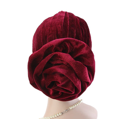 Rona  Big Flower Turban Women Headband Islamic Turban Hair Loss Cap Fancy Velvet Turbante Elegant Hair accessories Winter Red-4