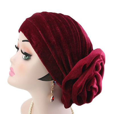 Rona  Big Flower Turban Women Headband Islamic Turban Hair Loss Cap Fancy Velvet Turbante Elegant Hair accessories Winter Red-7