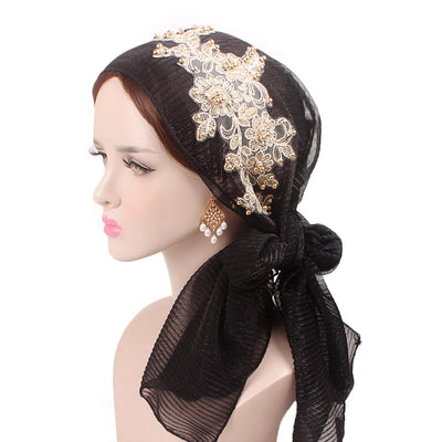 Ruth lace bandanna modest fashion mall headwraps heard wraps headcovers head coverings black