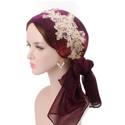 Ruth lace bandanna shop online modest fashion mall headwraps heard wraps headcovers head coverings burgondy