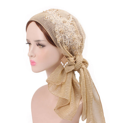 Ruth lace bandanna shop online modest fashion mall headwraps heard wraps headcovers head coverings gold
