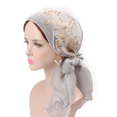 Ruth lace bandanna shop online modest fashion mall headwraps heard wraps headcovers head coverings gray