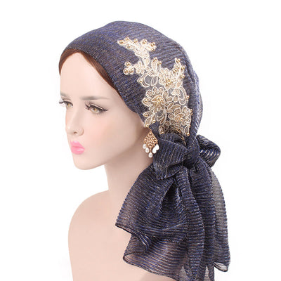 Ruth lace bandanna shop online modest fashion mall headwraps heard wraps headcovers head coverings blue