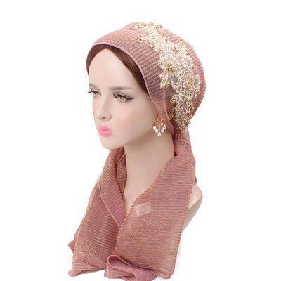 Ruth lace bandanna shop online modest fashion mall headwraps heard wraps headcovers head coverings pink-4