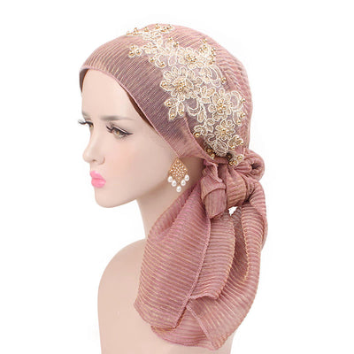 Ruth lace bandanna shop online modest fashion mall headwraps heard wraps headcovers head coverings pink
