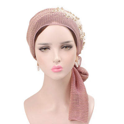 Ruth lace bandanna shop online modest fashion mall headwraps heard wraps headcovers head coverings pink-2
