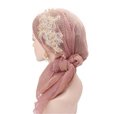 Ruth lace bandanna shop online modest fashion mall headwraps heard wraps headcovers head coverings pink-7