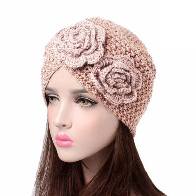 Sabrina Winter Knitted Turban Shop Online, Beanie With Double Flower, Vintage Headcovering, Hair Accessories_Beige