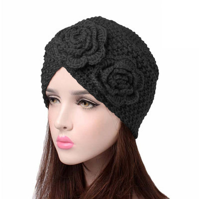 Sabrina Winter Knitted Turban Shop Online, Beanie With Double Flower, Vintage Headcovering, Hair Accessories_Black