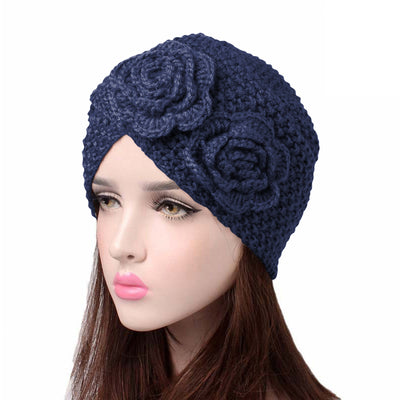 Sabrina Winter Knitted Turban Shop Online, Beanie With Double Flower, Vintage Headcovering, Hair Accessories_Blue