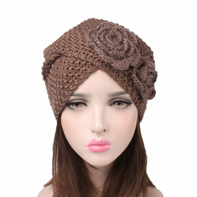 Sabrina Winter Knitted Turban Shop Online, Beanie With Double Flower, Vintage Headcovering, Hair Accessories_Brown-2
