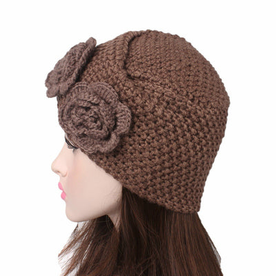 Sabrina Winter Knitted Turban Shop Online, Beanie With Double Flower, Vintage Headcovering, Hair Accessories_Brown-3