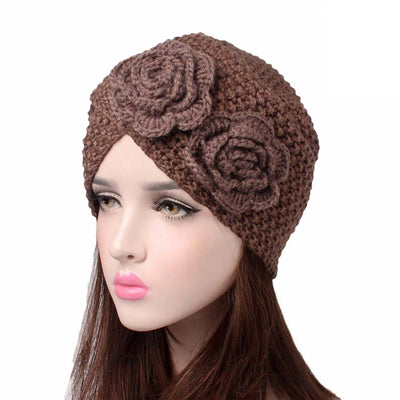 Sabrina Winter Knitted Turban Shop Online, Beanie With Double Flower, Vintage Headcovering, Hair Accessories_Brown
