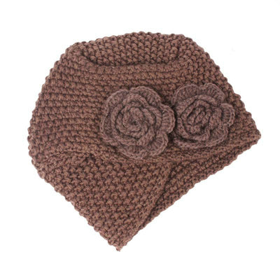Sabrina Winter Knitted Turban Shop Online, Beanie With Double Flower, Vintage Headcovering, Hair Accessories_Brown-4