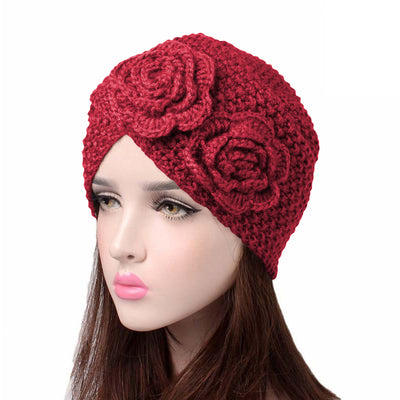 Sabrina Winter Knitted Turban Shop Online, Beanie With Double Flower, Vintage Headcovering, Hair Accessories_Red