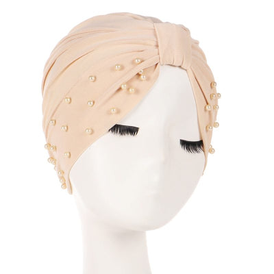 Sarah Pearls Turban Elastic Muslim Hijab Chemo Soft Cap For Woman African Beading Headcovering Free Shipping Headwrap Beanie For Work-Beige
