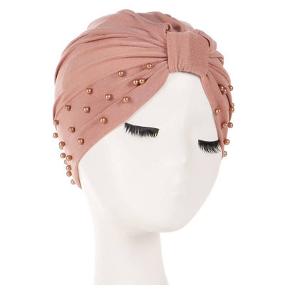 Sarah Pearls Turban Elastic Muslim Hijab Chemo Soft Cap For Woman African Beading Headcovering Free Shipping Headwrap Beanie For Work-Brown