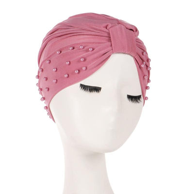 Sarah Pearls Turban Elastic Muslim Hijab Chemo Soft Cap For Woman African Beading Headcovering Free Shipping Headwrap Beanie For Work-Fuchsia