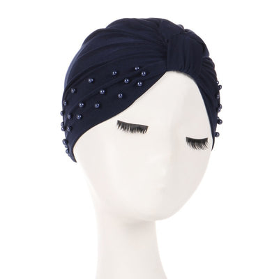 Sarah Pearls Turban Elastic Muslim Hijab Chemo Soft Cap For Woman African Beading Headcovering Free Shipping Headwrap Beanie For Work-Navy Blue