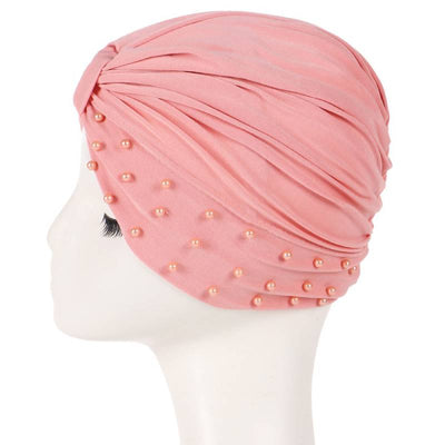 Sarah Pearls Turban Elastic Muslim Hijab Chemo Soft Cap For Woman African Beading Headcovering Free Shipping Headwrap Beanie For Work-Pink-2