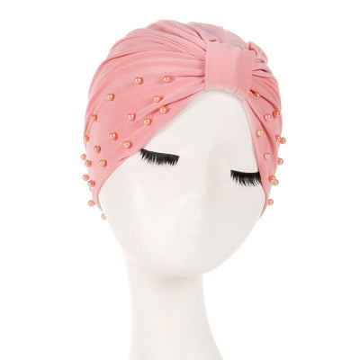 Sarah Pearls Turban Elastic Muslim Hijab Chemo Soft Cap For Woman African Beading Headcovering Free Shipping Headwrap Beanie For Work-Pink