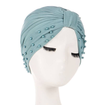 Sarah Pearls Turban Elastic Muslim Hijab Chemo Soft Cap For Woman African Beading Headcovering Free Shipping Headwrap Beanie For Work-Mint