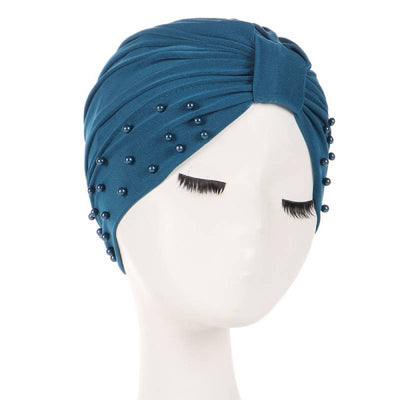 Sarah Pearls Turban Elastic Muslim Hijab Chemo Soft Cap For Woman African Beading Headcovering Free Shipping Headwrap Beanie For Work-Turquoise