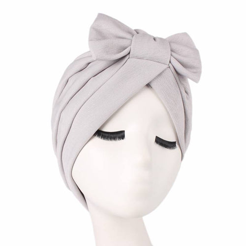 Shakilla Bow Turban Basic Headcovering To Shop Online  Basic Headwrap Hair Accessories Hijab Fashion Cancer Hat For Work Headwrap For Sabbath-Gray