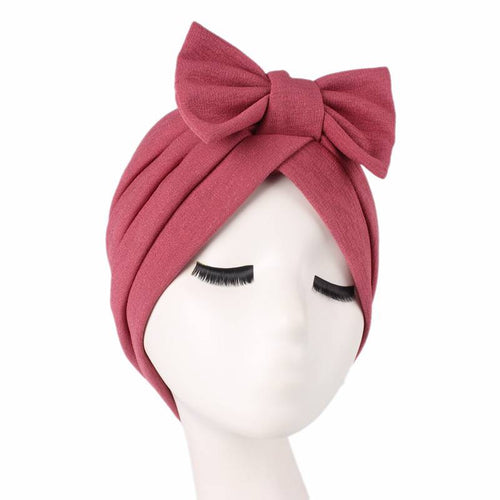 Shakilla Bow Turban Basic Headcovering To Shop Online  Basic Headwrap Hair Accessories Hijab Fashion Cancer Hat For Work Headwrap For Sabbath-Pink