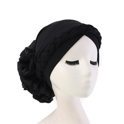 Shantel Braided Headwrap Big Flower Chemo Hat Pre-tied Caps For Women, New Style Braided Turban, African Twist Bandanna, Hair Unique Accessories_Black