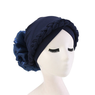 Shantel Braided Headwrap Big Flower Chemo Hat Pre-tied Caps For Women, New Style Braided Turban, African Twist Bandanna, Hair Unique Accessories_Blue